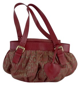 Moschino Small Red Brown Signature Hobo Bag