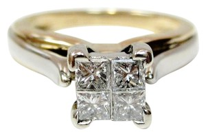 14K Yellow Gold Illusion Princess Quad Diamond Engagement Ring Sz 5