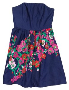 Lilly Pulitzer short dress Navy Strapless Floral Cotton on Tradesy