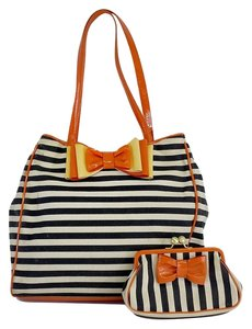 Moschino Striped Canvas Leather Hobo Bag