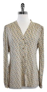 Tory Burch Tan Blue Fox Print Silk Top