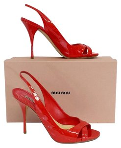 Miu Miu Red Patent Leather Heels Sandals