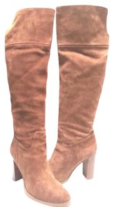 MICHAEL Michael Kors Gold Tone Hardware Over-the-knee Suede Stacked Heel Camel Boots