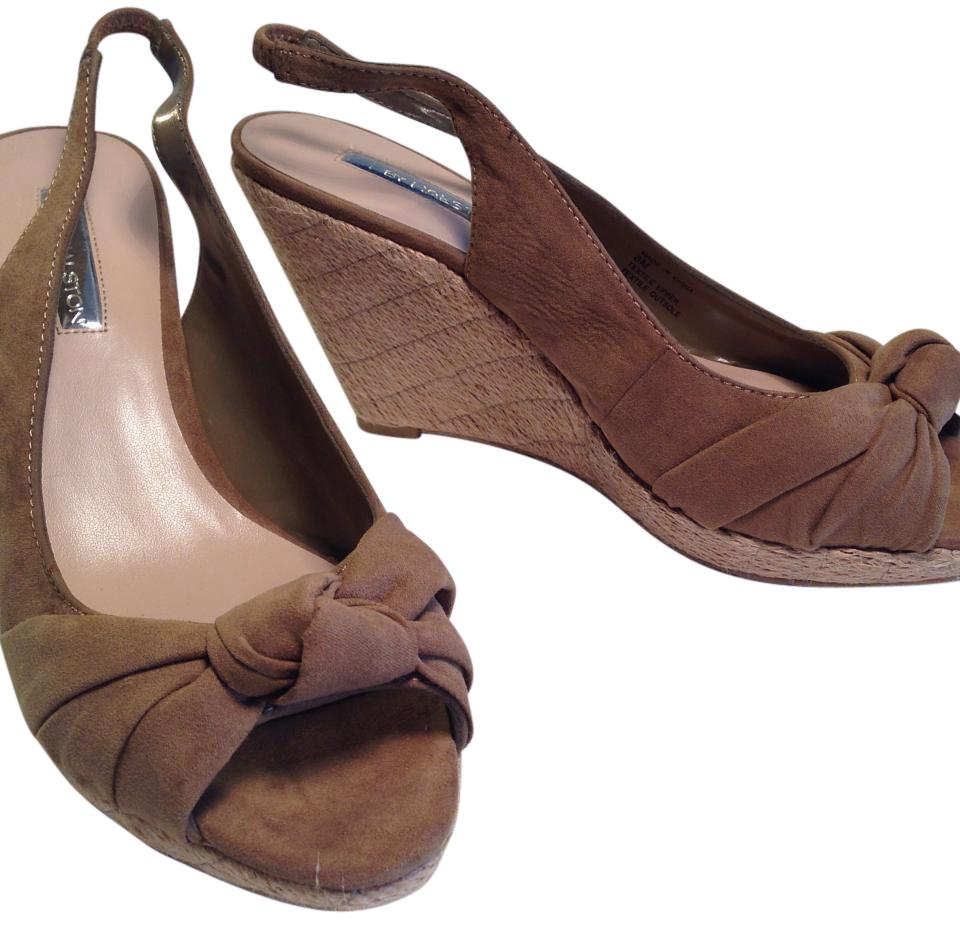 bb7bcde4090 Halston Mocha H By Peep Toe Sandal with Platform Heel Wedges Size US ...