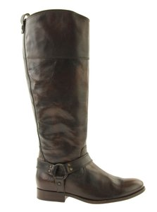Frye Soft Vintage Leather Style 76929 Inside Zip Harness Accent Metal Hardware Brown Boots