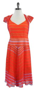 Nanette Lepore short dress Orange Purple Striped Silk on Tradesy