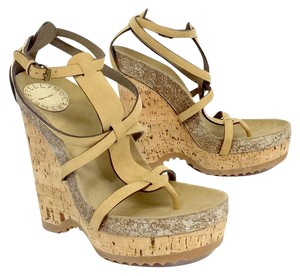 Stella McCartney Tan Cork Strappy Platform Wedges