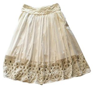 Alice + Olivia Beaded Cotton Skirt White