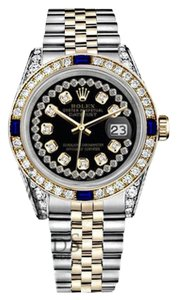 Rolex Rolex 36mm Datejust Glossy Black StringDial Sapphire & Diamond Watch