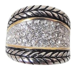 Emma Skye Pave Crystal Rope Stainless Steel Ring Size 7