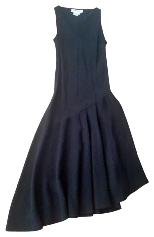 Bloomingdale S Black Mid Length P2178 High Low Cocktail Dress Size 4