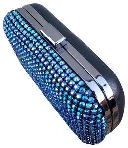 Expressions Rhinestones Crystals Blue Multi/Black Clutch