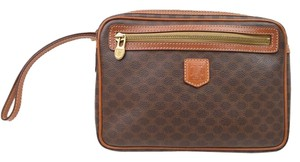 Céline Pvc Macadam Brown Clutch