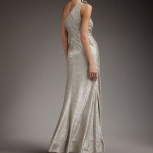 David Meister Champagne Gold Matelasse One-shoulder Gown Dress