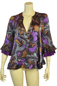 Nanette Lepore Ruffle Silk Print Top Purple Gray Brown Black