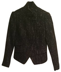 Banana Republic Chanel Tweed Designer Fashion Style Professional Dressy Work Jacket Black tweed Blazer