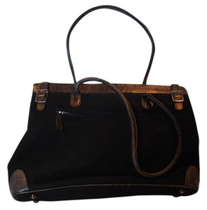 Via Spiga Tote Suede Embossed Leather Laptop Bag