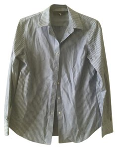 Jones New York Easy Care Made In China Button Down Shirt Blue Striped