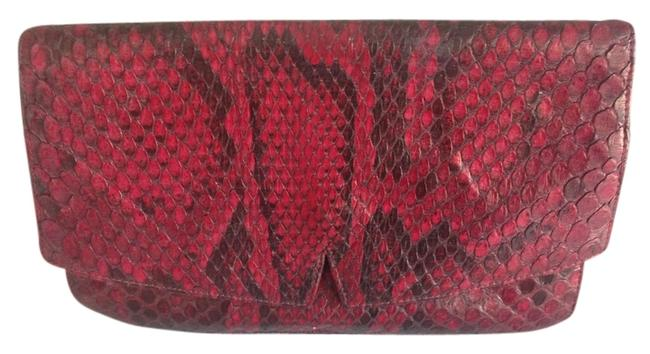 Charles Jourdan Dark Pink Snake Skin Leather Clutch Charles Jourdan Dark Pink Snake Skin Leather Clutch Image 1