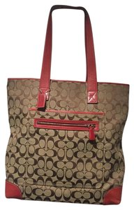 Coach Tote in Red & Browb
