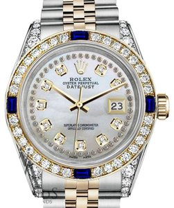 Rolex Women's Rolex 31mmDatejust WhiteMOP StringDial Sapphire Diamond Watch