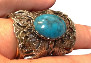 Other Faux Turquoise & Silver Adj Vintage Cocktail Ring W/ Open Design