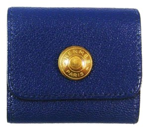 Hermès Blue/Gold Leather Post-It Notes Holder France