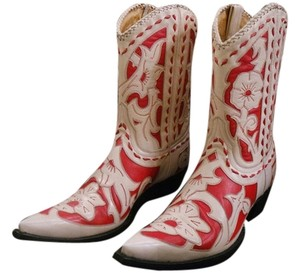 Old Gringo Leather Cowboy Top Stitching Unique Overlay Cream/Red Boots