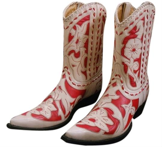 Old Gringo Leather Cowboy Stitching Unique Overlay Cream/Red Boots