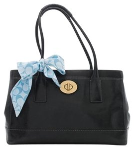 Coach Smooth Leather Madeline Leather Scarft Tote in Black