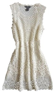 Olivia Sky short dress Cream Crochet Scalloped on Tradesy