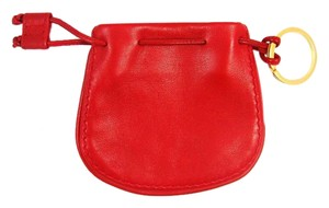 Bottega Veneta Red Calf Leather Coin Jewelry Pouch Key Chain w/ Box Italy
