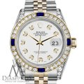 Rolex Ladies Rolex 26mm Datejust White Dial with Sapphire & Diamond Watch Image 1