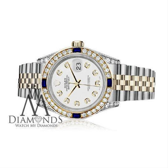 Rolex Ladies Rolex 26mm Datejust White Dial with Sapphire & Diamond Watch Image 2