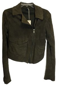 Diesel New Tags Asymmetrical Olive Dark Green Leather Jacket
