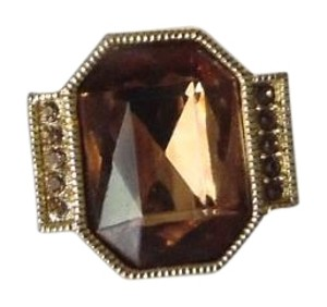 Goldtone Citrine Color Crystal Ring Size 8