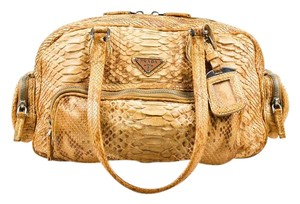 Prada Python Snakeskin Tan Limited Edition Satchel in Tan Beige