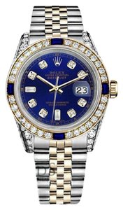 Rolex Ladies Rolex 26mm Datejust Blue Dial Sapphire & Diamond With A Track