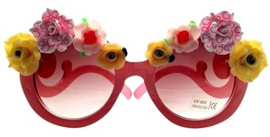Elle Cross ELLE CROSS WHIMSICAL PINK CAKE TOP FLORAL FRAMES BROWN LENS SUNGLASSES