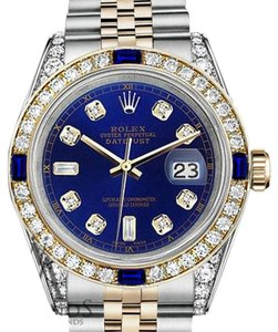 Rolex Rolex 36mm Datejust Watch Blue Dial Sapphire & Diamond With A Track