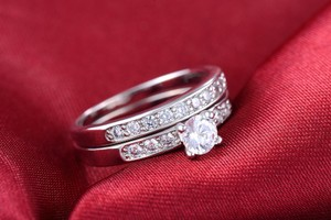 9.2.5 Sterling Silver Ring Diamond Set Band Wedding Engagement Bridal .65ct Ring 5 6 7 8 9
