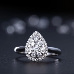 9.2.5 Sterling Silver Ring Diamond Set Band Wedding Engagement Bridal .65ct Ring 5 6 7 8 9 Pear Shape Tear Pave