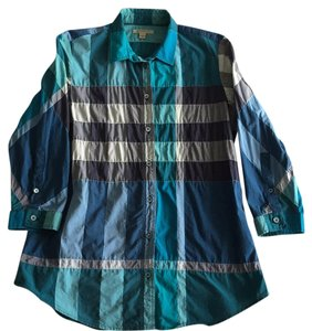 Burberry Brit Button Down Shirt Blues and Teal