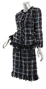 Chanel CHANEL SUIT Black/Blue/Silver/White w/FRINGE Zip Jacket/Skirt
