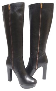 "Michael Kors Knee High Full Inside Zip Leather Upper 1"" Platform Black Boots"
