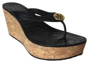 Tory Burch Cork Platform Patent Black Wedges