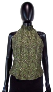 Carmen Marc Valvo Beaded Paisley Sleeveless Top Olive