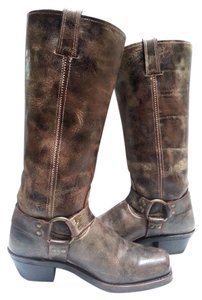 Frye Harness Accent Metal Hardware Chocolate Boots