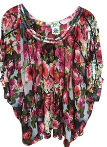 ivy jane Black/Red Floral Dolman Sleeves Embroidery Sheer Top red, black, green