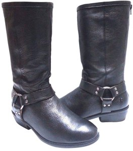 Frye Youth Size 4 Style No. 97064 Pebbled Leather Zip Classic Harness Black Boots
